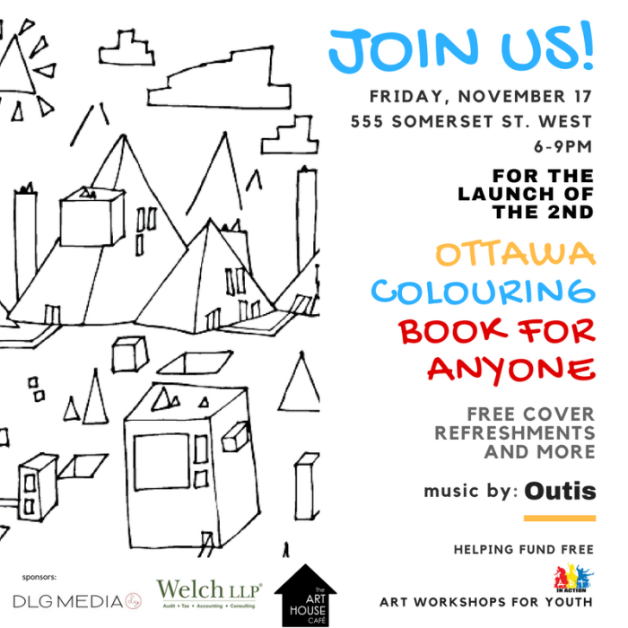 launch of second colouring book for anyone ottawa flyer promo ad version2